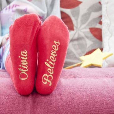 Personalised Kids Crimson & Gold Christmas Day Socks